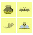 assembly flat potion cauldron bat ghost book skull vector image vector image