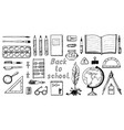 back to school doodle symbols and objects set vector image