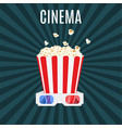 box of popcorn and 3d cinema glasses vector image vector image