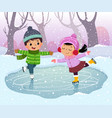 boy and girl kids ice skating vector image vector image