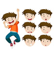Boy with facial expressions vector image vector image