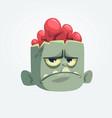 cartoon funny gray zombie head vector image vector image