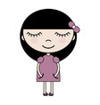 cartoon girl in pink dress vector image