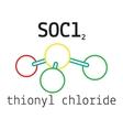 Cl2SO thionyl chloride molecule vector image vector image