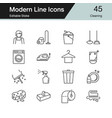 cleaning icons modern line design set 45 vector image vector image