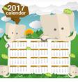 Cute Elephants 2017 Calendar Starts Sunday vector image vector image