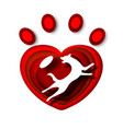 dog white silhouette in red heart shape pet animal vector image vector image