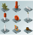 Drugs color gradient isometric icons
