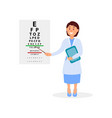 female ophthalmologist holding digital tablet and vector image vector image