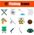 Flat design fishing icon set vector image vector image
