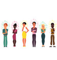 flat people caucasian african thinking set vector image vector image
