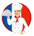 french cuisine chef holding a silver tray vector image