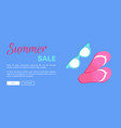 hot summer poster with flip-flops and sun glasses vector image
