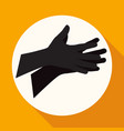 icon hands on white circle with a long shadow vector image vector image