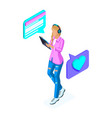 isometrics young girl communicates in social netwo vector image vector image