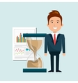 man with hourglass and statistics isolated icon vector image