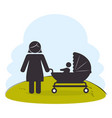 mother with baby on park silhouette vector image vector image