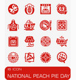 national peach pie day icon set vector image