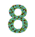 number eight with flowers vector image