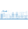 Outline Minsk skyline with blue buildings vector image vector image