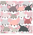 pattern seamless cute baby fox girl cartoon vector image