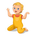 realistic little baby in yellow suit cartoon baby vector image
