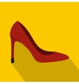 Red high heel shoe icon flat style vector image vector image