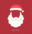 santa claus hat beard and moustache vector image vector image
