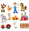 set farming cartoon with farmer vector image vector image