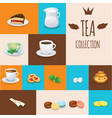 set of tea drinks sweets and bakery products vector image