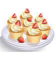 strawberry cupcakes on a white table summer vector image
