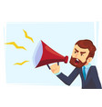successful beard businessman character shouting vector image