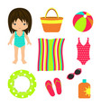 summer beach set towel bag vector image vector image