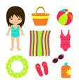 summer beach set towel bag vector image