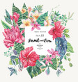 Template card tropical flowers and