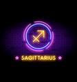 the sagittarius zodiac symbol in neon style vector image vector image
