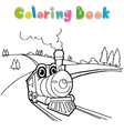 train coloring page cartoon vector image vector image