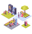 vending machines isometric concept vector image vector image