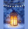 vintage lantern and magical snowfall vector image vector image