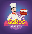 vintage logo smiling man in a cook cap with cake vector image vector image