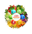 vitamin b c and d color diet detox nutrition vector image vector image