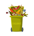 waste sorting green trash can with sorted organic vector image vector image