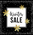 winter sale poster template with white and golden vector image