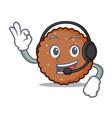 with headphone chocolate biscuit mascot cartoon vector image vector image