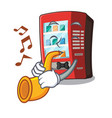 with trumpet vending machine next to character vector image vector image