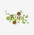 word kiwi design in paper art style vector image vector image