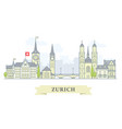 zurich switzerland - old town city panorama vector image vector image