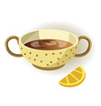 cup of lemon tea with polka-dot pattern and two vector image