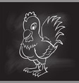 hand drawing of rooster on black board - vector image