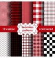 Set of checkered simple fabric seamless pattern vector image